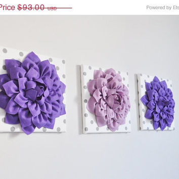 "MOTHERS DAY SALE Wall Art -Set of Three Lavender and Lilac Dahlias White with Gray Polka Dot 12 x12"" Canvas Wall Art - 3D Felt Flower"
