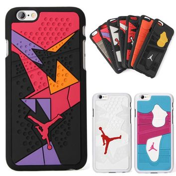 For Iphone 6 6s Phone Case 4.7 Inches 3D Jordan Capa Sport Basketball Plastic+Silicone