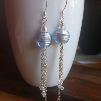 Duster Earrings:  Ice Periwinkle Blue and Silver Lampwork beads and silver, free shipping in the US