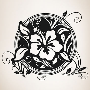 Vinyl Wall Decal Sticker Hawaiian Flower Circle #OS_AA379