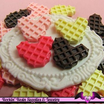 5 pieces MOUSE HEAD WAFFLE  Resin Decoden Flatback Cabochon
