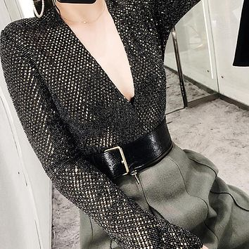 Deep V Sequin Bodysuit