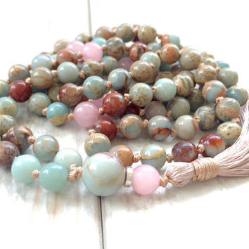 African Opal Knotted Mala Beads, Tassel Mala Necklace, Rose Quartz Mala Beads, Long Tassel Necklace, Yoga Meditation Beads