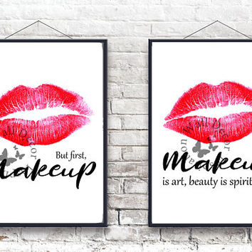 Makeup Artist | Beauty Salon | Red Lip | Woman Beautician | Cosmetic | Inspiration Poster | Art Print | Printable Quote | Typography