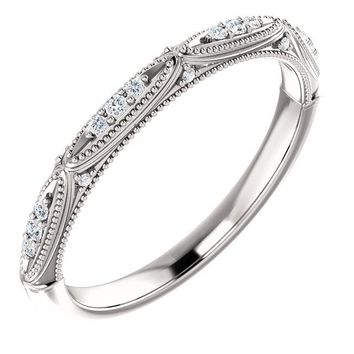 14K White Gold .08 CTW Diamond Band