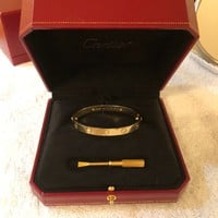 Cartier Love Bracelet with 4 Diamonds Yellow Gold size 16
