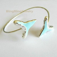 Teal Shark Tooth Bangle