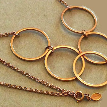 "Gold Circle Dangle Necklace Fashion Pendant Signed AVON Gold Metal 16"" Vintage"