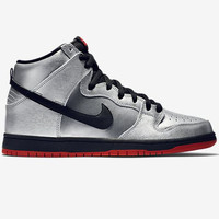 Nike SB Dunk High Pro-Metallic Silver/Challenge Red-Black