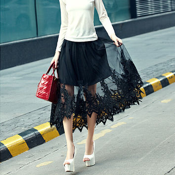 Black Lace And Mesh Asymmetrical Skirt