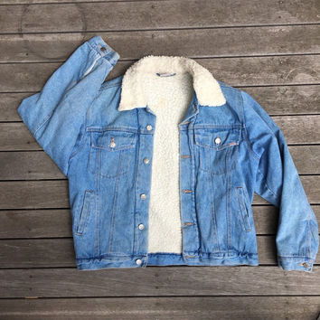 80's Vintage Denim Sherpa Fleece Lined Boho Jean Jacket Large Blue Denim Trucker Jacket 80's Fashion Jacket Denim Jean Jacket