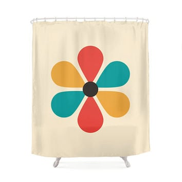 Flower Shower Curtain, Minimal Geometry, Hippie Art, Funny Design Curtains, Vintage Color, Art, Yellow, Red, Turquoise, Cream, Bathroom Art