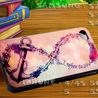 Flower Rose Anchor Refuse To Sink For iphone 4 iphone 5 samsung galaxy s4 / s3 / s2 Case Or Cover Phone.