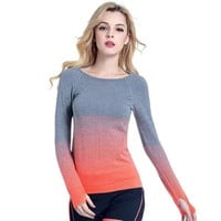 Gradient Color Long Sleeve T-Shirt