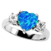 Star K 8mm Heart-Shape Simulated Blue Opal Ring Size 7