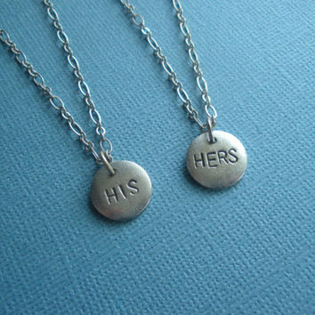HIS HERS boyfriend girlfriend gift necklaces unique wedding gift hand stamped metal matching necklaces for couples, gift box