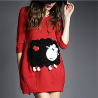 2016 new arrival maternity wear dress fashion spring black sheep and a slim package hip loose women red pregnancy clothes
