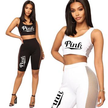 pink Sexy women's clothes Letter printing Camisole Net yarn Two piece set yoga Running Suit Dance Track and field suit