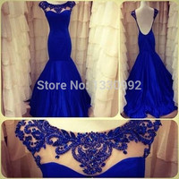 Real Images Scalloped Cap Sleeve Beaded Floor Length Royal Blue Mermaid Prom Dress 2017 Backless Prom Dresses