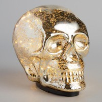 Mercury Glass LED Light Skull