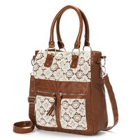 Mudd April Crochet Floral Convertible Tote