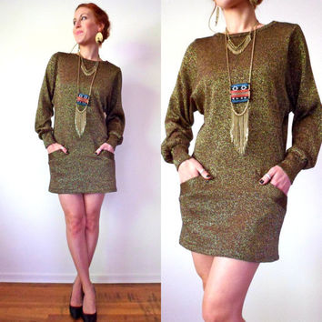 Metallic Shiny Gold Disco Mini Sweater Dress Pockets