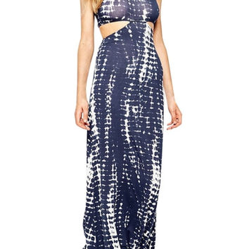 Women's Fashion Maxi Dress Tie-Dye Color Block Print Halter Cut Out Waist Maxi Dress
