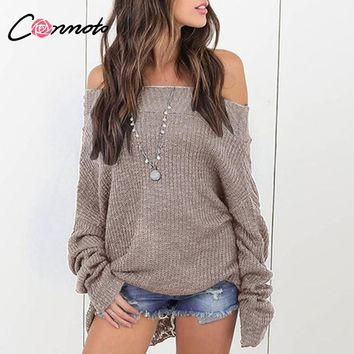 Conmoto Off Shoulder Solid Sexy Sweaters Mujer Winter Long Batwing Sleeve Jumper Women Pullover Knitted Sweaters Oversize