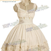 Classic Lolita Vintage Lace Shirring High Waist OP Dress&Headband*5color Instant