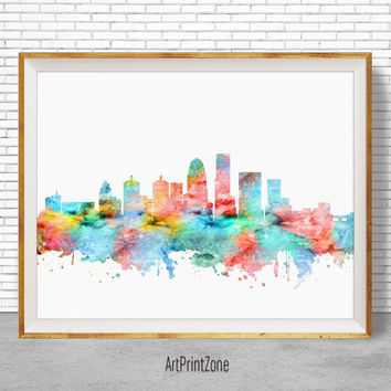 Louisville Art Print Louisville Skyline, Louisville Kentucky, Office Wall Art, City Skyline Prints, Skyline Art, Cityscape Art, ArtPrintZone