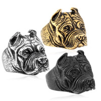 Man's Unique Stainless Steel Titanium Animal Pit Bull Dog Ring Jewelry