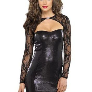 Stretch Sequin Mini Dress With Lace Shrug Cut Out Detail In Black