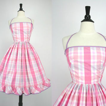 Vintage 60s Dress Pink & White Plaid Full Skirt Sundress Wallis Fashion Shops Label Back Ties or Halter Cotton Blend 50s early 1960s Dresses
