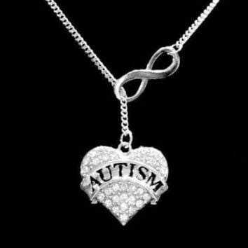 Crystal Autism Heart Awareness Gift Mom Infinity Lariat Necklace