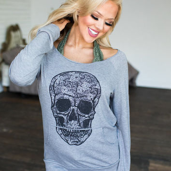 Gray Skull Off Shoulder Pocket Top