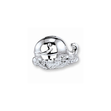 Whale Baby Silver-plated Polished Metal Bank - Engravable Personalized Gift Item