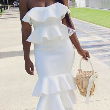 White Ruffle Bandeau Off Shoulder Backless Zipper Elegant Mermaid Party Midi Dress