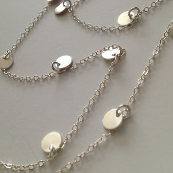 18 Inch - Courtney Cox Cougar Town Necklace -Tiny Discs Long Sterling Silver Disco Necklace - Celebrity Style