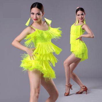 new Girls Kids adult Modern Ballroom Latin Dance Dress tassel Fringe Salsa Tango Dance Wear Black Performance Stage Wear