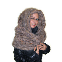 Mohair Infinity Hooded Scarf, Hand Knitted Scarf by Solandia. Scarf with Hood, brown, beige, caramel, christmas gift