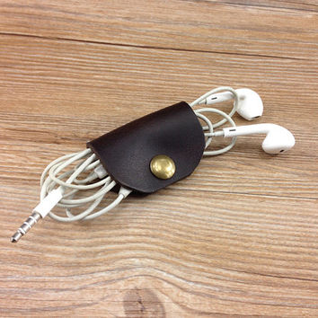 Earbud organizer, brown earphone holder, Personalized cable organizer gifts, Earbud holder, iPhone earbuds