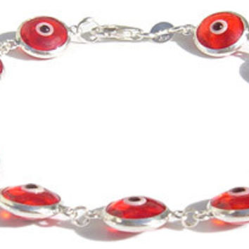 Evil Eye Red Translucent Silver Bracelet
