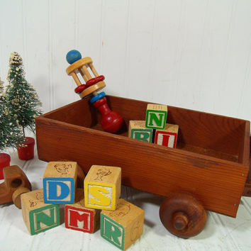 Vintage Wooden Small Wagon - Handmade Wood Crafted Doll Size Toy for Display or Play Push & Pull - Lightweight Interior Decor Storage Wagon