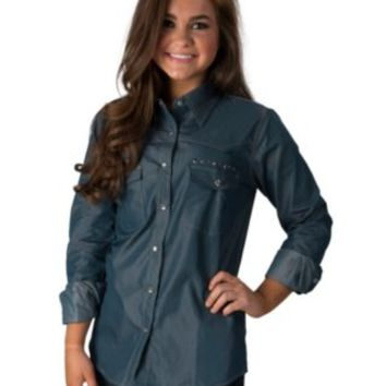 Cowgirl Hardware Women's Denim with Studded Cross Long Sleeve Western Shirt