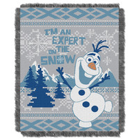 Disney Frozen Snow Expert Entertainment 48x60 Woven Jacquard Throw
