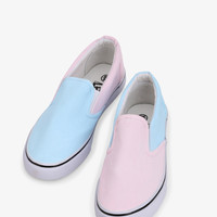 Simple Slip-On Sneakers In Pastel Blue and Pink