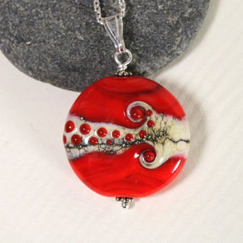 Bright Red Glass Medallion, Glass Pendant, Lampwork Jewelry, Sterling Silver, Glass Jewelry, Red Bead, Lampwork Bead, Swedish, Glass,