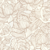 Brewster Calista Modern Rose Wallpaper - Cream/Tan