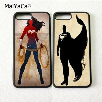 Batman Dark Knight gift Christmas wonder woman batman BFF best friends silicone phone cases for iphone 5s se 6 6s plus 7 7plus 8 8plus X XR XS MAX soft cover case AT_71_6