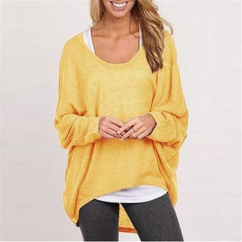 Spring New Fashion Batwing Long Sleeve Casual Loose Solid Color Shirt Sexy Tops Blusas